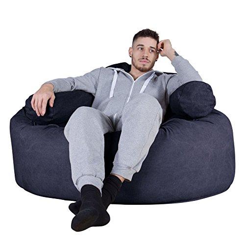 LOUNGE PUG®, 'Mammoth' Sofa Sitzsack XXL, Riesen Sessle, Stonewashed-stoff Marineblau