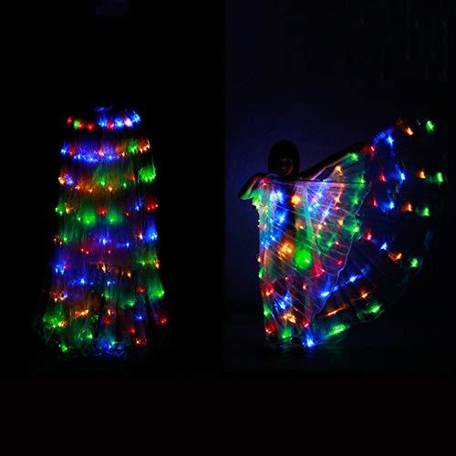 Kinder LED Isis Wings Performance Dance Zubehör Mit 2 Teleskop-Sticks, Mädchen Ballettkleider - Bauchtänzerinnen Kostüm Kinder