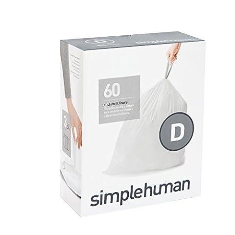 simplehuman CW0254 passgenaue Müllbeutel Nachfüllpack code D, 3 x Pack mit 20 - 60 Beutel, Plastik, Weiß, 0.02 x 40.20 x 71.00 cm