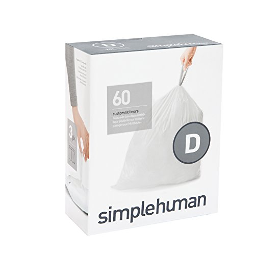 simplehuman Custom Fit Bin Liner, Plastic, White, Code D, 3 x Pack of 20