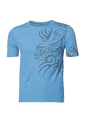 DOOXIUNDI New T Shirts For Men Novelty Dragon Printing Tatoo Male O Neck T Shirts (L, blue)