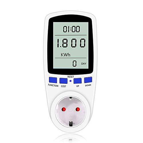 Energiekostenmessgerät Stromverbrauchszähler, Digitaler Energiekosten-Messer Strommessgerät Stromzähler mit Großer LCD-Bildschirm und Überlastsicherung, 3680W