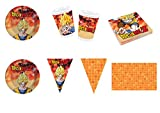 Party Store Web by Hogar Dulce Hogar Dragon Ball Z Goku Juego de decoración de Fiesta–Kit N ° CDC (40Platos, 40Vasos, 40servilletas ,1Mantel ,1Pancarta)