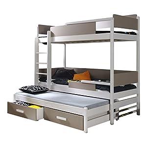 QUATRO Children Triple Bunk Bed - Pine Wood - 27 Colours - 2 Sizes - 4 Types of Mattresses