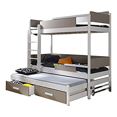 Ye Perfect Choice TRIPLE BUNK BED Quatro Modern High Bed DRAWERS Ladder 3 children TRUNDLE Bed 2 sizes