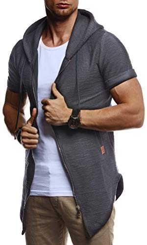 ommer Jacke mit Kapuze Sweatjacke T-Shirt Slim Fit Basic Baumwolle-Anteil | Basic Männer Kapuzenjacke | Kapuzenshirt Hoodie-Sweater Kurzarm lang | LN8301 Anthrazit Small ()