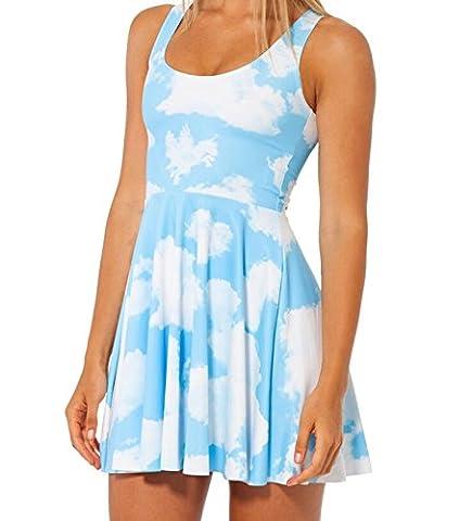 Femmes géométrique imprimé extensible sans manche plissé Fit et Flare Skater Dress (blue white cloud)