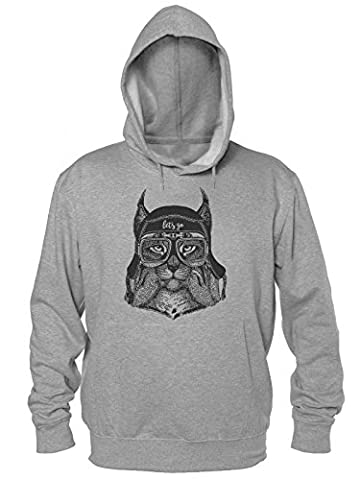 Let's Go Cool Lynx Aviator Männer Kapuzen-Sweatshirt Men's Hooded Sweatshirt Small (Bobcat Lynx)