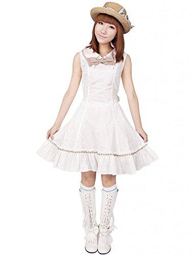 Pintuck Kleid (Cemavin Ins Weiße Pintuck ärmellose Bogen Zweireiher Baumwolle Classic Lolita Kleider)