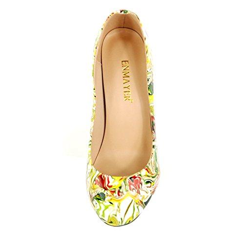 ENMAYER Femmes PU Matériel Talons hauts Stiletto Pompes Round Toe Slip-on Office Lady Eté Chaussures Jaune