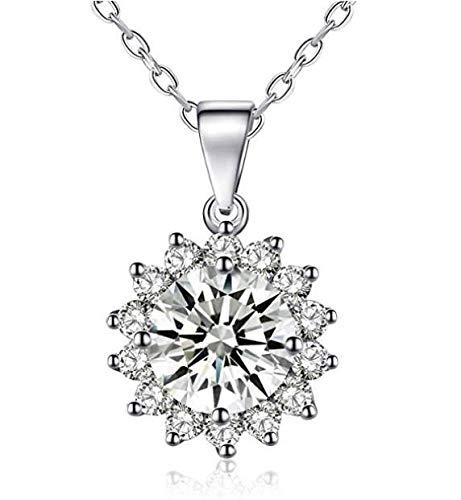 DIOOR Schmuck für Frauen Geschenk für Damen Mädchen Kristall/Silber/Gold Anhänger Halskette Damen Rose Halskette