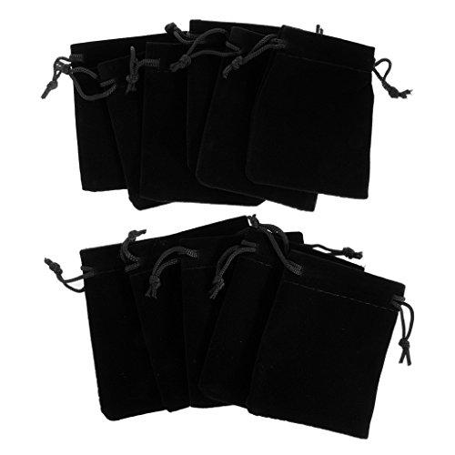Magideal 10 pièces en velours Sacs Cadeau de fête de mariage téléphone Sacs Bijoux Pochettes Perfect 7 *9 cm noir