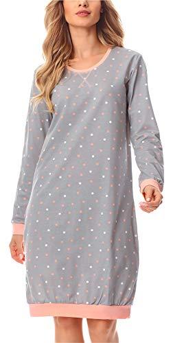 Merry Style Chemise de Nuit Vêtement d'Intérieur Femme MS10-180 (Gris/Points, L)