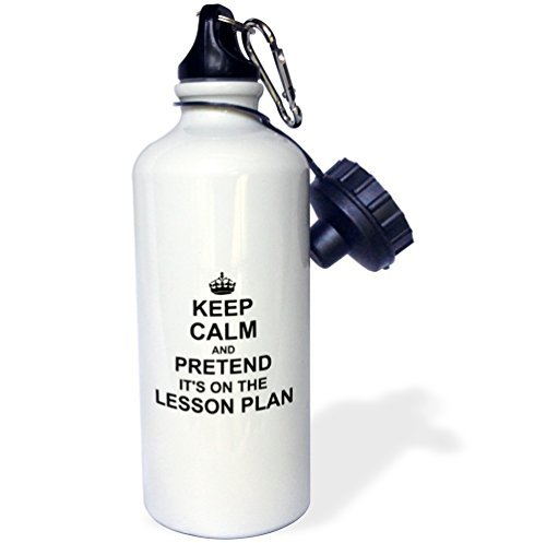 Sports Water Bottle Gift for Kids Girl Boy, Keep Calm And Pretend Its On The Lesson Plan Funny Teacher Gifts Teaching Humor Humorous Fun Stainless Steel Water Bottle for School Office Travel 21oz