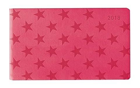 Ladytimer TO GO Deluxe Pink 2018 - Taschenplaner / Taschenkalender quer (15,3 x 8,7) - Tucson Einband - Motivprägung Sterne - Weekly - 128 Seiten
