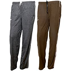 Indistar Women Premium Cotton Lower with 1 Zipper Pocket and 1 Open Pocket(Pack of 2)_Grey:: Brown-38