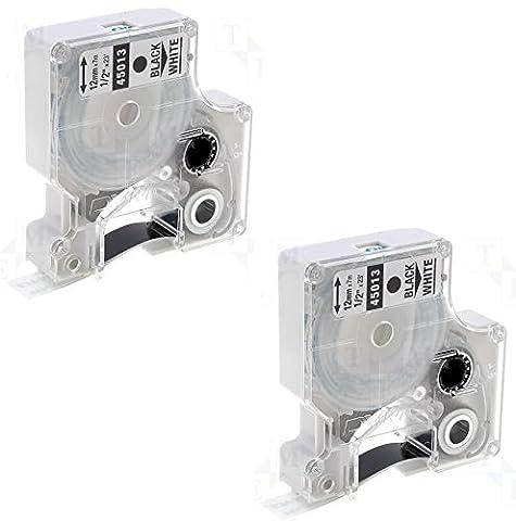 2 x Compatible Ruban cassettes Dymo D1 45013 Noir sur Blanc (12mm x 7m) pour Electronic Labelmakers