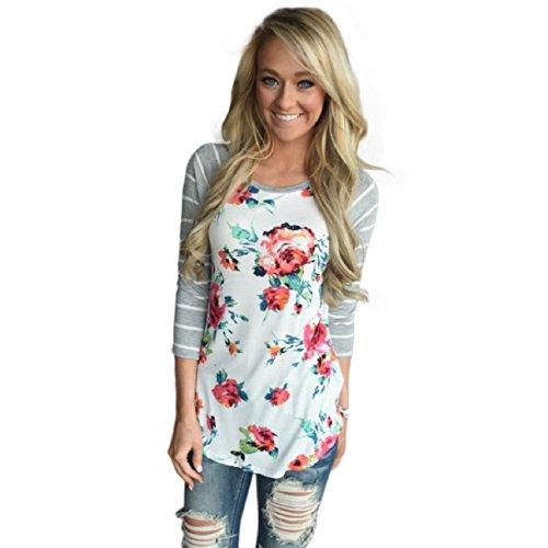 OverDose Damen Lässige Blumen Splice-Streifen Druck Rundhalsausschnitt Pullover Bluse Tops T-Shirt (M, Weiß) (T-shirt Rüschen-hals)