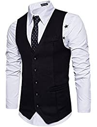 STTLZMC Leisure Élégant Homme Gilet Costume Veste Slim Fit sans Manches Business Mariage(sans Chemise)