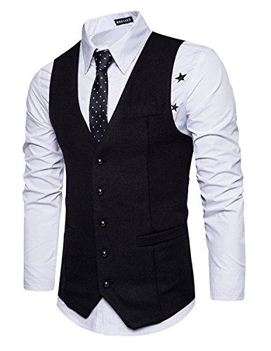 Leisure Herren Anzugweste Gentleman Basic Mode Einreiher Fünf Knöpfe Weste,Schwarz,M