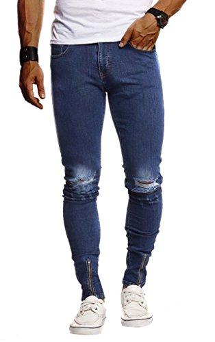 LEIF NELSON Herren Hose Jeans Stretch Jeanshose Chino Cargo Hose Jogger Freizeithose Denim Slim Fit LN9265; W29L32, Blau | 04251510260057