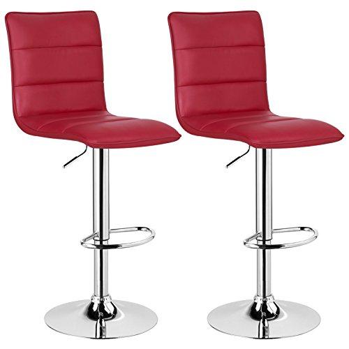 WOLTU BH15bd-2 Design Hocker mit Griff, 2er Set, stufenlose Höhenverstellung, verchromter Stahl, Antirutschgummi, pflegeleichter Kunstleder, gut gepolsterte Sitzfläche, Bordeaux -