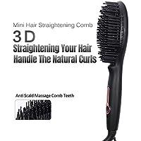 Mini cepillo alisador de cabello 3D con placa de cerámica y peine alisador de cabello antiquemaduras, cepillo.