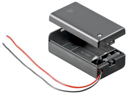 5 Stück Wentronic Batteriehalter für Batteriehalter 9 Volt Block im geschlossenen Gehäuse mit Schalter -