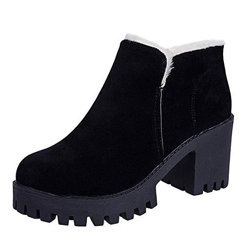 (Yvelands Damen Stiefel, High Heel Schuhe Martain Boot Leder Slip-On Plus SAMT Runde Zehe Schuhe Stiefeletten(37.5,Schwarz))
