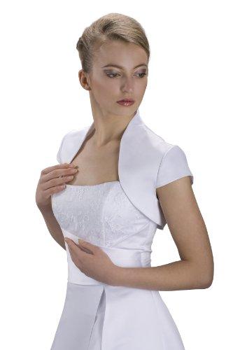 Bolerojacke Brautkleid Kurzarm Jacke Satin - Gr XS - 4XL - E17S (3XL, weiß)