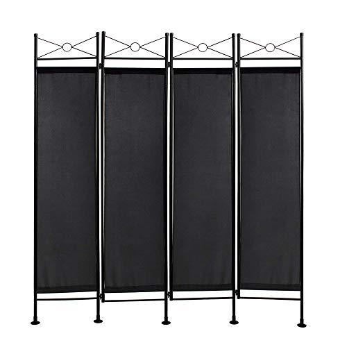Todeco - divisorio, paravento - materiale pannello: 100% poliestere - numero di pannelli: 4 - 180 x 160 cm, nero