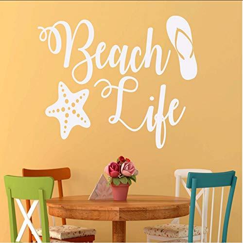 (Lvabc Strand Thema Flip Flops Starfish Wandaufkleber Für Ferienhaus Strand Decor Vinyl Tapete Aufkleber Schlafzimmer Kunst Poster 57X39 Cm)