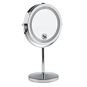 Segolike Beauty Double-Sided Desktop Makeup Vanity Mirror LED Lighted 5x Magnifying Table Counter Cosmetic Shaving Stand Mirror