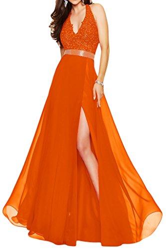Ivydressing Robe fendue col en V en mousseline et dentelle pour fête et soirée Orange