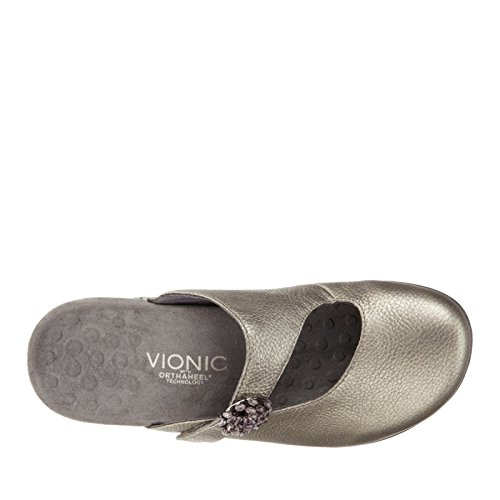 Vionic By Orthaheel Women's Joan Black Fabric And Leather Casual 8 B(M) US Pewter Metallic