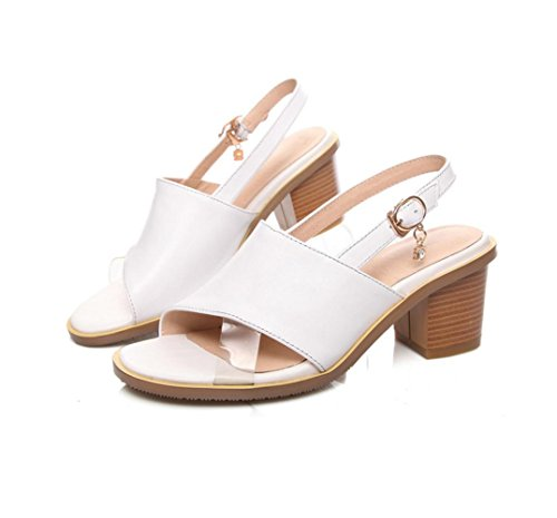 WZG Neue Ledersandalen dicke hochhackigen Sandalen Strass Metallschnalle Schuhe große Yards White