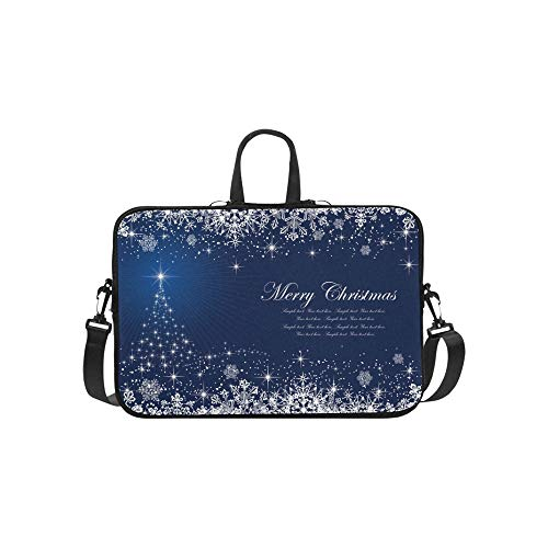 Abstract Winter Blue Stars Schneeflocken Aktenkoffer Laptoptasche Messenger Schulter Arbeitstasche Crossbody Handtasche für Geschäftsreisen