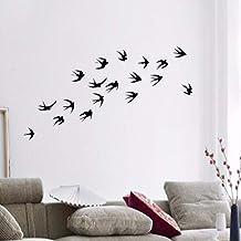Pbldb 55X60Cm 18 Pájaros Silueta Volando Golondrinas Vinilo Pegatinas De Pared Decoración Para El Hogar Etiqueta