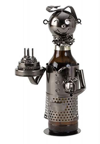 Lifestyle & More Moderner Flaschenhalter Bierflaschenständer Geburtstag aus Metall in Silber Höhe 24 cm -