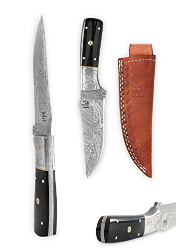 Hobby Hut HH-701, 21.6 cm damast Jagdmesser, feststehende Full Tang Klinge, Extra Scharf,Buffalo Horn Griff, Scheide aus Leder