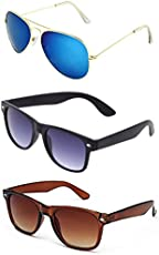Combo Set of 3 UV Protect Fashion Wayfarer Goggle and Sunglasses Ideal for Men Women Boys and Girls With Three Hard Black Boxes