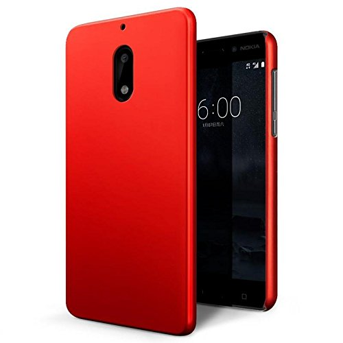 Nokia 6 (Matte Black, 32GB)/Nokia 6 (Tempered Blue, 32GB) Hard Back Cover Rubberized Hard Back Cover Case, Colourfull Shock Proof Hard Back Case for Nokia 6 (Matte Black, 32GB)/Nokia 6 (Tempered Blue, 32GB)-Red