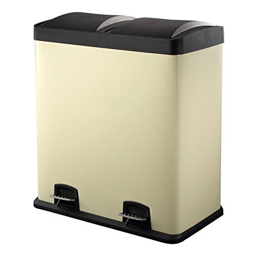 Doppelmülleimer 60L | Creme Farbe Abfalleimer von HARIMA | Pulverbeschichteter Stahltreteimer | Hochwertige Kunststoffdeckel | 2 x 30 L herausnehmbare Abteilezur Mülltrennung und einfachem Recycling