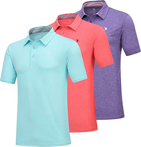 JINSHI Herren Basic Poloshirt Leicht Golf Slim Fit Polo Performance Passform Jungen Sommershirt Top 3er Pack (Blaugrün/Hellrot/Violett) L -