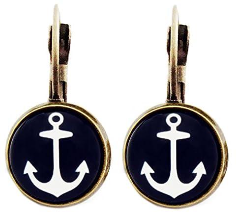 Miss Lovie Ladies Vintage Anchor Stud Earrings Cabochon Dark Blue 12 mm Bronze
