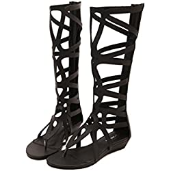 YCMDM Mujeres Hueco HOT SELL Botas Negro Estilo Romano Bovino Skins Sandalias 39 36 35 38 37 40 , black , 40