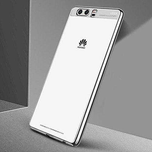 """Huawei P10 (5.1"""") Hülle, MSVII® Durchsichtig Weich TPU Silikon Bumper Hülle Schutzhülle Case Und Displayschutzfolie für Huawei P10 (5.1"""") - Blau JY60035 Silber"""