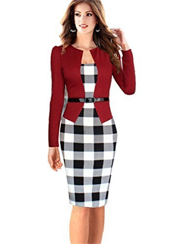 KingField - Robe - Crayon - Manches Longues - Femme - Red Small Plaid