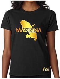 T-shirt Femme Martinique 972 Madinina Noir et Or Métallisé