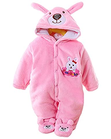 Minetom Herbst Winter Verdickte Overalls Baby Mädchen Jungen Overall Cartoon Coral Fleece Kinderkleidung Warm Einteiler Spieler Hase Rosa (Hündchen-kostüm Für Kleinkind)